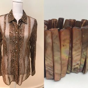 Bundle: vintage blouse & bracelet in carmel